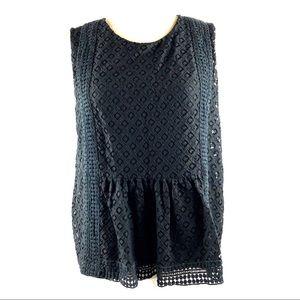 Banana Republic Black Crochet Lace Top